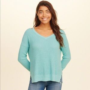 Hollister Strappy Turquoise V-Neck Sweater